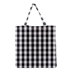 Large Black White Gingham Checked Square Pattern Grocery Tote Bag