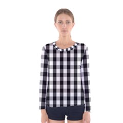 Large Black White Gingham Checked Square Pattern Women s Long Sleeve Tee