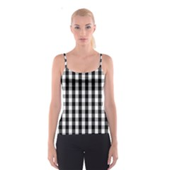 Large Black White Gingham Checked Square Pattern Spaghetti Strap Top