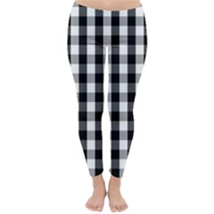 Large Black White Gingham Checked Square Pattern Classic Winter Leggings
