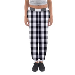 Large Black White Gingham Checked Square Pattern Women s Jogger Sweatpants