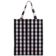 Large Black White Gingham Checked Square Pattern Zipper Classic Tote Bag