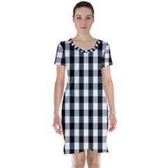 Large Black White Gingham Checked Square Pattern Short Sleeve Nightdress