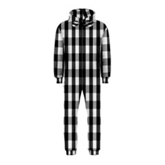 Large Black White Gingham Checked Square Pattern Hooded Jumpsuit (Kids)