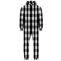 Large Black White Gingham Checked Square Pattern Hooded Jumpsuit (Men)