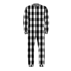 Large Black White Gingham Checked Square Pattern OnePiece Jumpsuit (Kids)