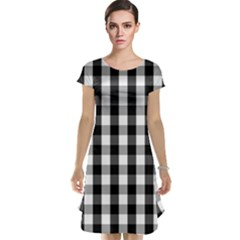 Large Black White Gingham Checked Square Pattern Cap Sleeve Nightdress