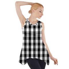 Large Black White Gingham Checked Square Pattern Side Drop Tank Tunic