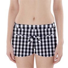 Large Black White Gingham Checked Square Pattern Boyleg Bikini Wrap Bottoms