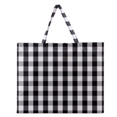 Large Black White Gingham Checked Square Pattern Zipper Large Tote Bag