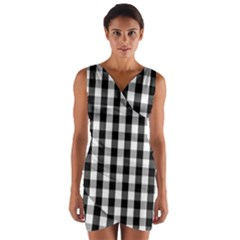 Large Black White Gingham Checked Square Pattern Wrap Front Bodycon Dress