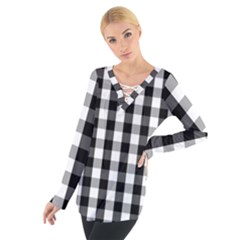 Large Black White Gingham Checked Square Pattern Women s Tie Up Tee
