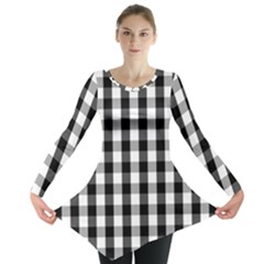 Large Black White Gingham Checked Square Pattern Long Sleeve Tunic