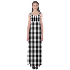 Large Black White Gingham Checked Square Pattern Empire Waist Maxi Dress