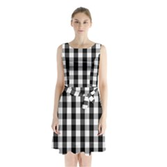 Large Black White Gingham Checked Square Pattern Sleeveless Waist Tie Chiffon Dress