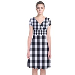 Large Black White Gingham Checked Square Pattern Short Sleeve Front Wrap Dress