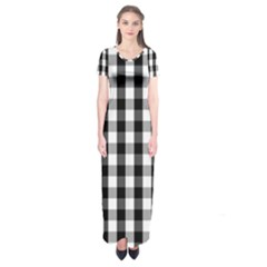 Large Black White Gingham Checked Square Pattern Short Sleeve Maxi Dress