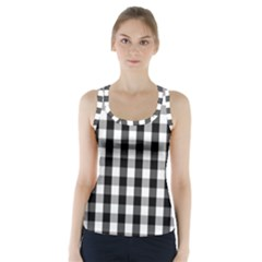 Large Black White Gingham Checked Square Pattern Racer Back Sports Top