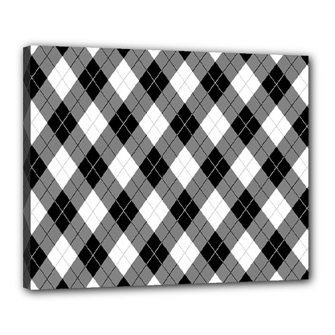 Argyll Diamond Weave Plaid Tartan In Black And White Pattern Canvas 20  X 16