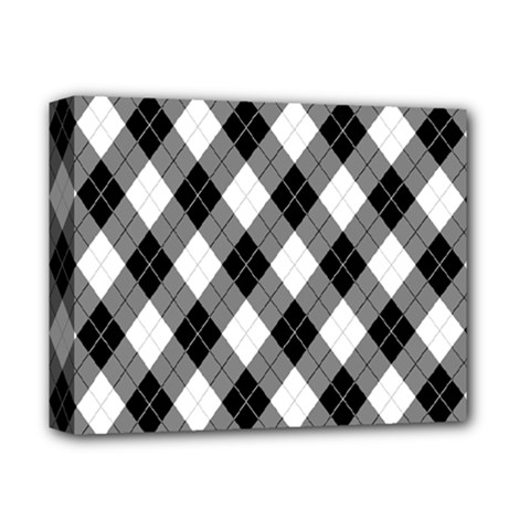 Argyll Diamond Weave Plaid Tartan in Black and White Pattern Deluxe Canvas 14  x 11
