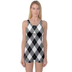 Argyll Diamond Weave Plaid Tartan in Black and White Pattern One Piece Boyleg Swimsuit