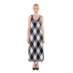 Argyll Diamond Weave Plaid Tartan in Black and White Pattern Sleeveless Maxi Dress