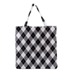 Argyll Diamond Weave Plaid Tartan in Black and White Pattern Grocery Tote Bag