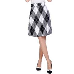 Argyll Diamond Weave Plaid Tartan in Black and White Pattern A-Line Skirt