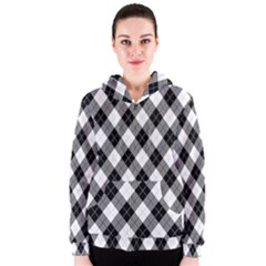 Argyll Diamond Weave Plaid Tartan in Black and White Pattern Women s Zipper Hoodie