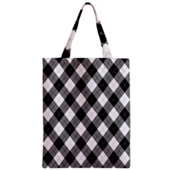 Argyll Diamond Weave Plaid Tartan in Black and White Pattern Zipper Classic Tote Bag