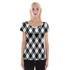 Argyll Diamond Weave Plaid Tartan in Black and White Pattern Women s Cap Sleeve Top