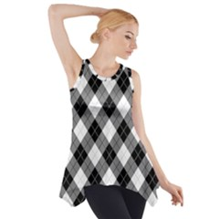 Argyll Diamond Weave Plaid Tartan in Black and White Pattern Side Drop Tank Tunic
