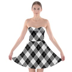Argyll Diamond Weave Plaid Tartan in Black and White Pattern Strapless Bra Top Dress