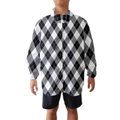 Argyll Diamond Weave Plaid Tartan in Black and White Pattern Wind Breaker (Kids)