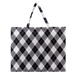 Argyll Diamond Weave Plaid Tartan in Black and White Pattern Zipper Large Tote Bag
