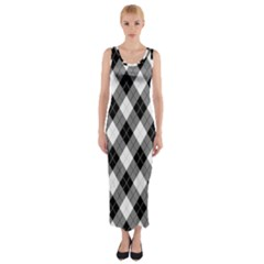 Argyll Diamond Weave Plaid Tartan In Black And White Pattern Fitted Maxi Dress