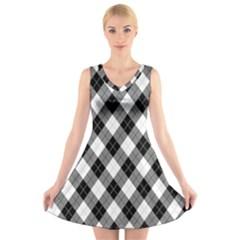 Argyll Diamond Weave Plaid Tartan in Black and White Pattern V-Neck Sleeveless Skater Dress
