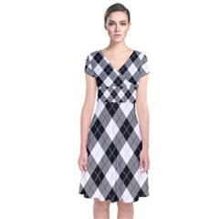 Argyll Diamond Weave Plaid Tartan in Black and White Pattern Short Sleeve Front Wrap Dress