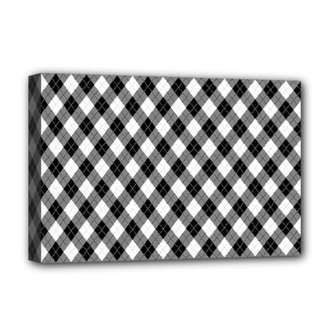 Argyll Diamond Weave Plaid Tartan In Black And White Pattern Deluxe Canvas 18  x 12