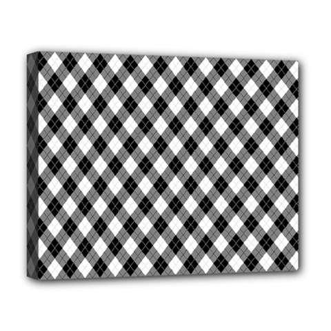 Argyll Diamond Weave Plaid Tartan In Black And White Pattern Deluxe Canvas 20  x 16