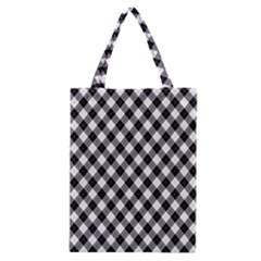 Argyll Diamond Weave Plaid Tartan In Black And White Pattern Classic Tote Bag