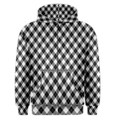 Argyll Diamond Weave Plaid Tartan In Black And White Pattern Men s Zipper Hoodie
