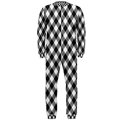 Argyll Diamond Weave Plaid Tartan In Black And White Pattern OnePiece Jumpsuit (Men)