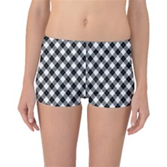 Argyll Diamond Weave Plaid Tartan In Black And White Pattern Boyleg Bikini Bottoms