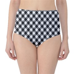 Argyll Diamond Weave Plaid Tartan In Black And White Pattern High-Waist Bikini Bottoms
