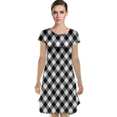 Argyll Diamond Weave Plaid Tartan In Black And White Pattern Cap Sleeve Nightdress