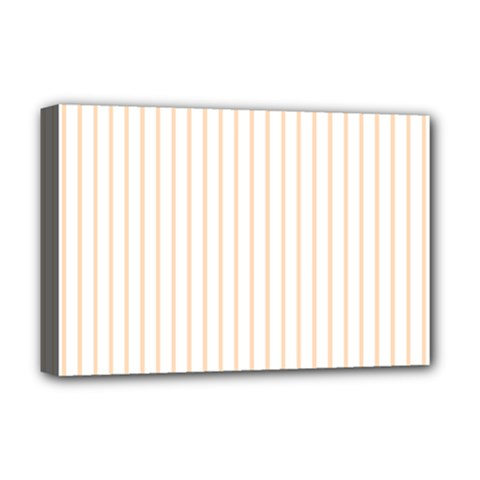 Soft Peach Pinstripe on White Deluxe Canvas 18  x 12