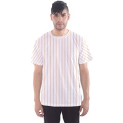 Soft Peach Pinstripe on White Men s Sport Mesh Tee