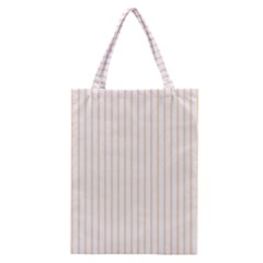 Soft Peach Pinstripe on White Classic Tote Bag