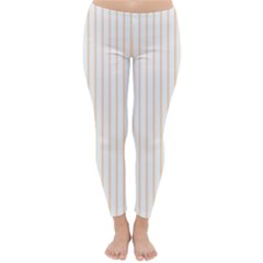 Soft Peach Pinstripe on White Classic Winter Leggings